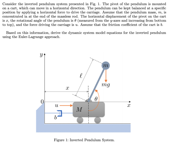 Consider the inverted pendulum system presented in Fig. 1 ...