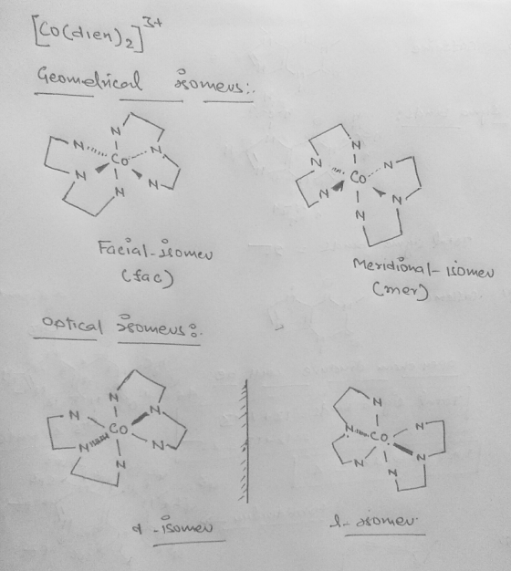 Diethylenetriamine H2nch2ch2nhch2ch2nh2 Dien Is A Tridentate Ligand Draw All The Geometrical And Optical Isomers F Homeworklib