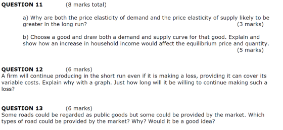 8 Marks Total Question 11 A Why Are Both The Price Elasticity Of