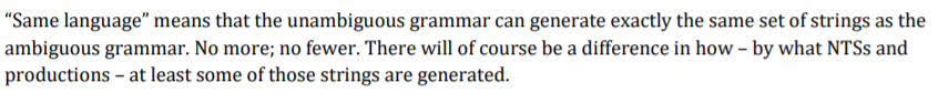 Same language means that the unambiguous grammar can generate exactly the same set of strings as the ambiguous grammar. No