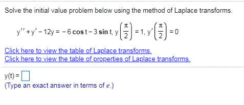 Solve the initial value problem below using the method of Laplace transforms. ka Type an exact answer in terms ofe)