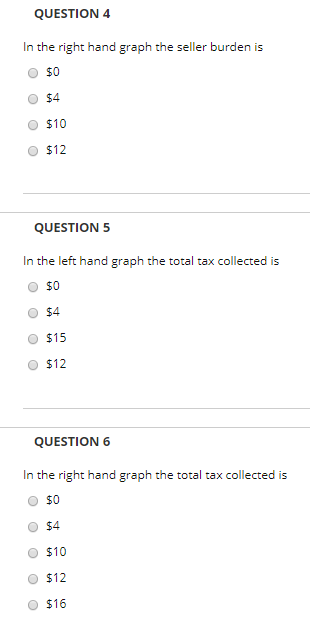 QUESTION 4 In the right hand graph the seller burden is O $0 O $4 O $10 O $12 QUESTION 5 In the left hand graph the total tax