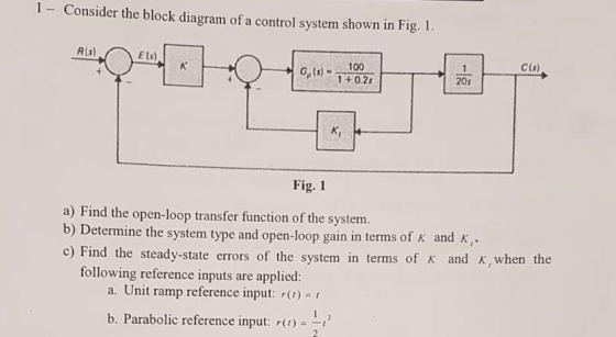 1- Consider the block diagram of a control system shown in Fig. 1 Rts) E  ts) C(s) Gt-11027 20s Fi... - HomeworkLibHomeworkLib