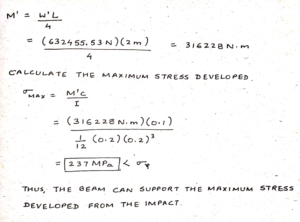 6324 55. 53 N) (2 m) 316228N·m 4 CALCULATE THE MAx, MUM STRESs DEVELOPED (316228 N.rm )(o.1 ニ 1 2. Tus, TH E GEAM CAN SUPPORT