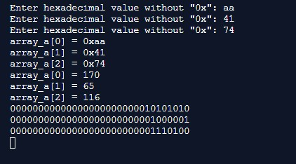 Enter hexadecimal value without Ox: aa Enter hexadecimal value without Ox: 41 Enter hexadecimal value without Ox: 74 ar