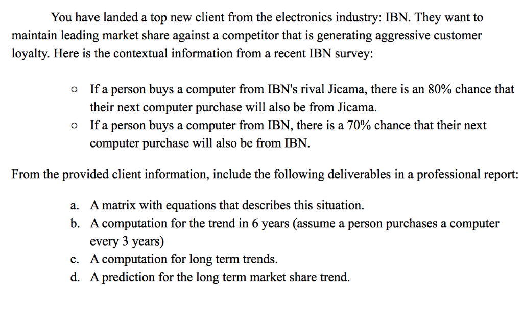 You have landed a top new client from the electronics industry: IBN. They want to maintain leading market share against a com