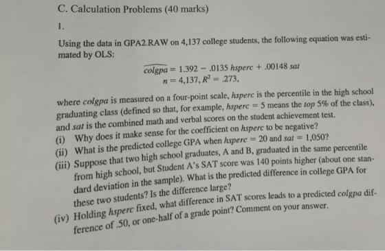 C. Calculation Problems (40 marks) 1. Using the data in