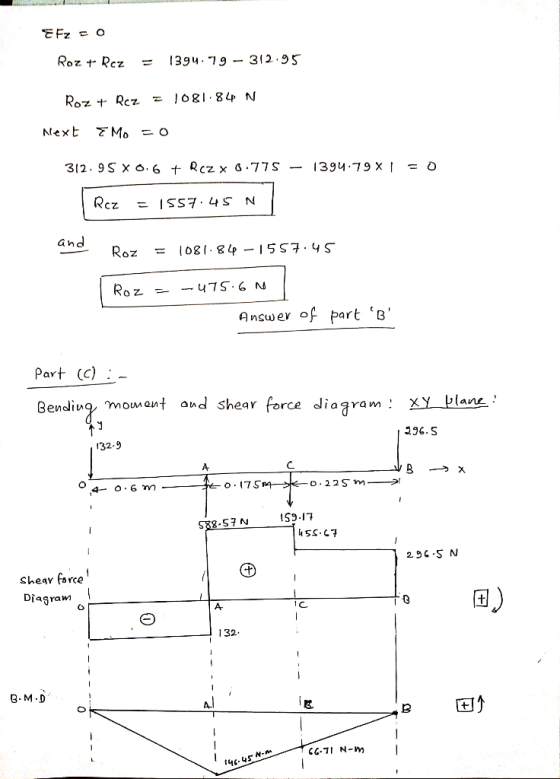 and Roz 1081.84-1557 . ys Answer of part e Part (C):- Bendiuy mowant aud shear force diagram: X 296.S 32.9 о. 175 S9.17 Shea