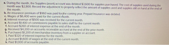 a. During the month, the Supplies (asset) account was debited $3,600 for supplies purchased. The cost of supplies used during