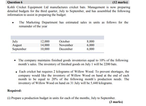 Question 6 12 Marks Kohli Cricket