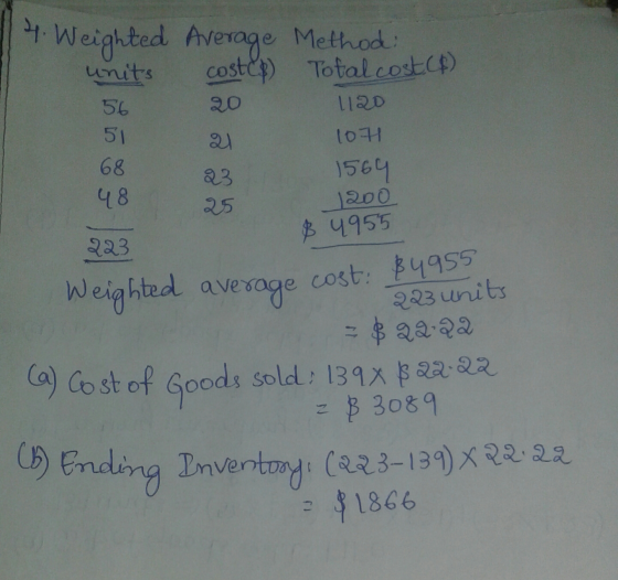 Weighted average cost: $4955 4. Weighted Average Method costcp) Total costcp) : units 1120 107 56 51 68 48 1564 25 1200 $ 995