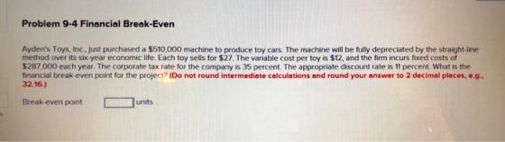 Problem 9-4 Financial Break-Even Ayden's Toys, Inc., just ...
