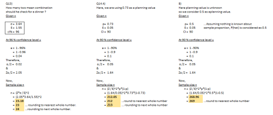 Q14 A) Here, we are using 0.73 as a planning value Q13) How many two mean combination should he check for a dinner? Givena B)