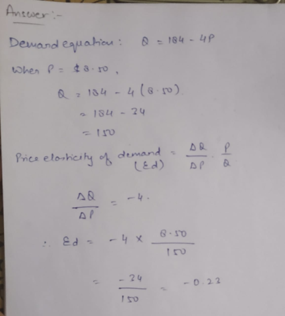 Calculate The Price Elasticity Of Demand At Price P 8 50 Given