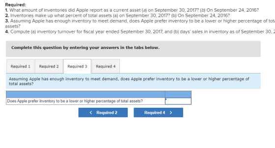 Required: 1. What amount of inventories did Apple report as a current asset (a) on September 30, 2017? (b) On September 24, 2