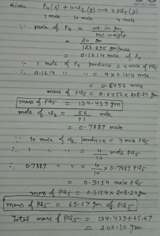 P4(s)+10Cl2(g)→4PCl5(g) 0.646 Mol Of PCl5 Can Be Produced From 20g Of P4 ,  0.3155 Mol Of... - HomeworkLib