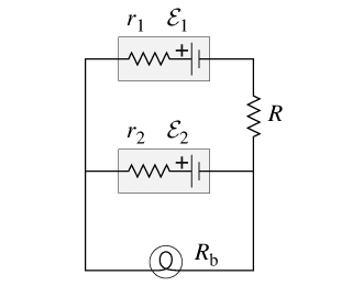 The circuit diagram below shows two emf sources and a bulb