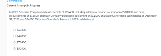 View Policies Current Attempt in Progress In 2022, Sheridan Company had cash receipts of $29400, including additional owner i