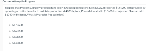 Current Attempt in Progress Suppose that Pharoah Company produced and sold 4800 laptop computers during 2022. It reported $16