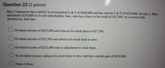 Question 22 (2 points) Blue Corporation has a deficit in accumulated E & P of $300,000 and has current E & P of $225,000. On