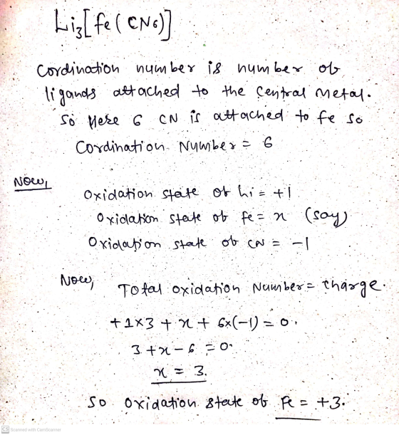 Lig[fe(CN)] Cordination number is number of ligands attached to the central metal. So here 6 CN is attached to fe so Cordinat