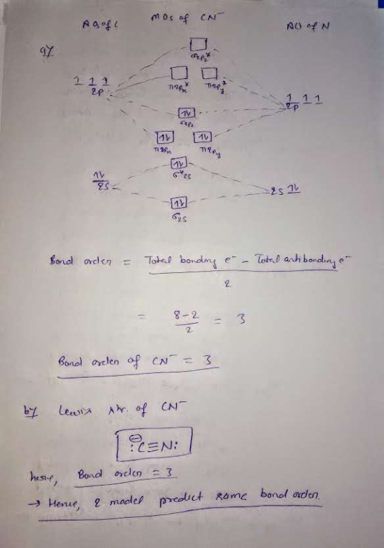 9  Construct The Molecular Orbital Diagram For The Cyanide Ion  Calculate The Bond Order For