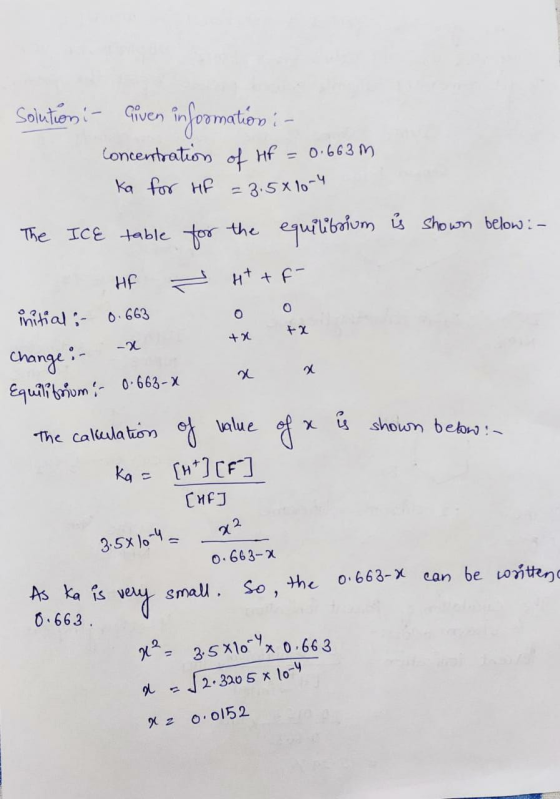 Find The Percent Ionization Of A 0.663 M HF Solution. The
