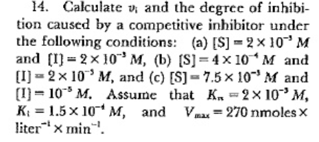 14. Calculate v, and the degree of inhibi- tion caused by a competitive inhibitor under the following conditions: (a) [S]-2x10 M and [I]-2x10-3 M, (b) [S]= 4x10-4 M and CI2x 10 M, and (c) [S]- 7.5x 10M and [I)-10° M, Assume that ..-2x10-3 M, K,=1·5 x 10 М, and Vmax = 270 nmoles × liter 1 x min-1.
