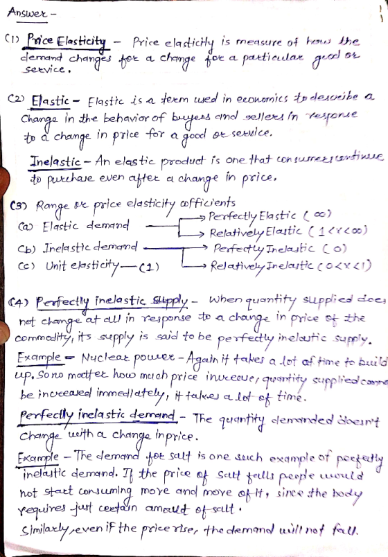 1 What Is Meant By Price Elasticity 2 Define The Terms Elastic And Inelastic In Words 3 What Range Or Price Homeworklib