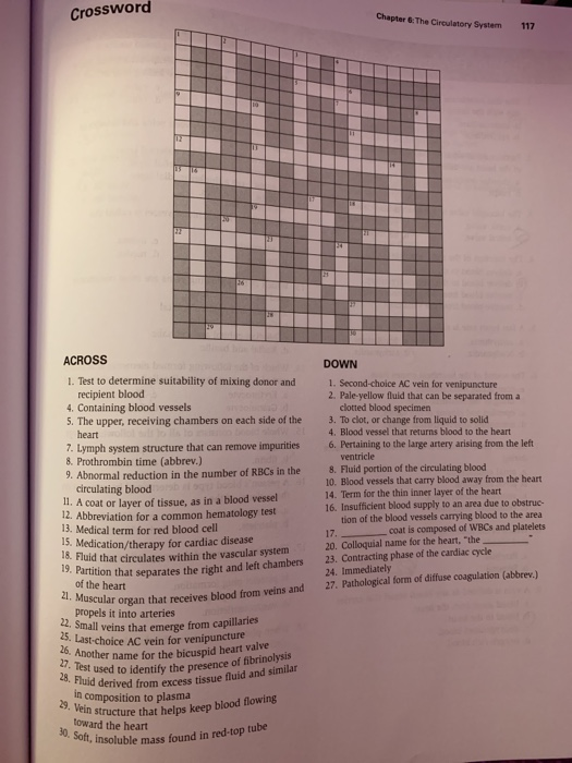 Crossword Chapter & The Circulatory System 117 ACROSS 1 ...