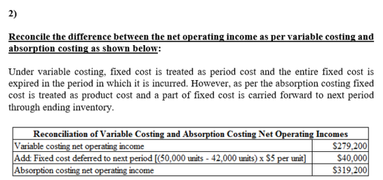 2) Reconcile the difference between the net operating income as per variable costing and absorption costing as shown below: U
