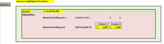 Answer is highlighted in yellow: Solution: d. $2,000 $6,000 Answer: Explanation: Material handling rate = (50000/12500) = Pro