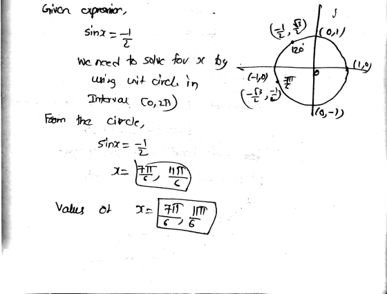 Use the unit circle shown here to solve the trigonometric ...