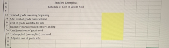 49 Stanford Enterprises SO Schedule of Cost of Goods Sold 51 52 Finished goods inventory, beginning 53 Add: Cost of goods man