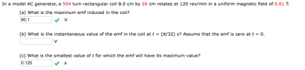 A rectangular coil of N turns and of length a and width b ...