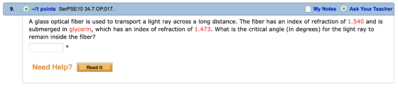 Homework help indexes of refraction