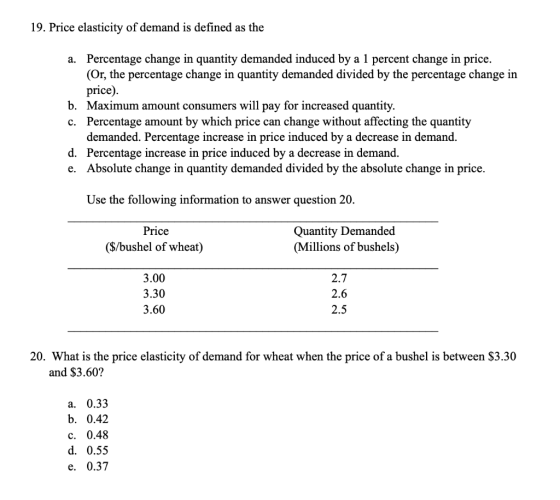19 Price Elasticity Of Demand Is Defined As The A Percentage