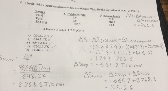 6. Use the following thermodynamic data to calculate me