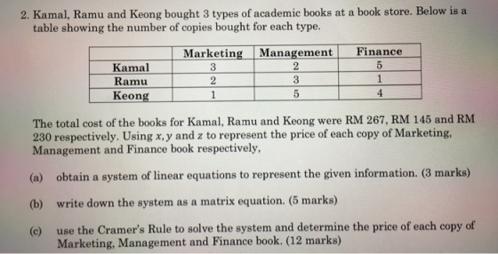 2. Kamal, Ramu and Keong bought 3 types of academic books at a book store. Below is a table showing the number of copies boug