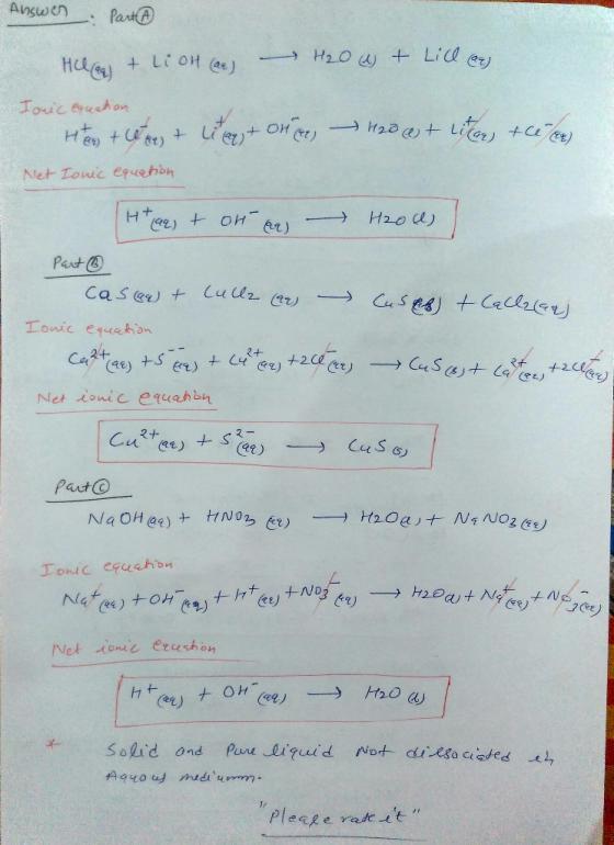 Part A Write Balanced Complete Ionic Equation For HCl(aq) + LiOH(aq) + H2O(l)  + LiCl(aq) Express... - HomeworkLib