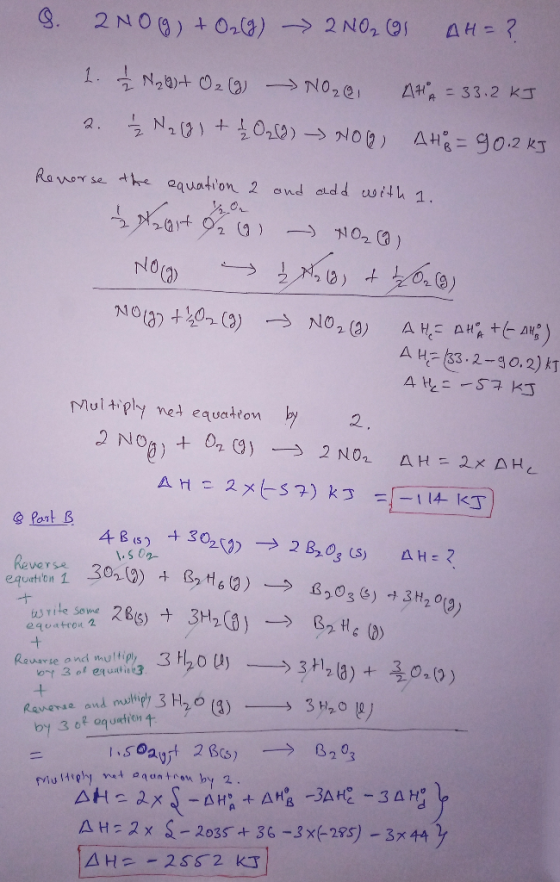 Calculate the Enthalpy of The Reaction 2NO(g) + O2(g)2NO2