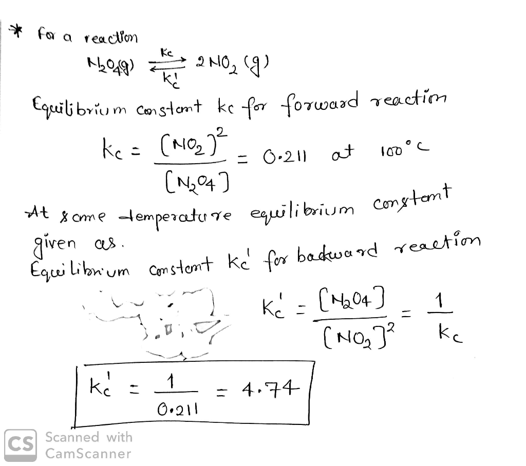 Consider the equilibrium constant Kc for the reaction ...