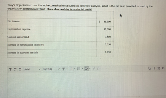 Tanys Organization uses the indirect method to calculate its cash flow analysis. What is the net cash provided or used by th