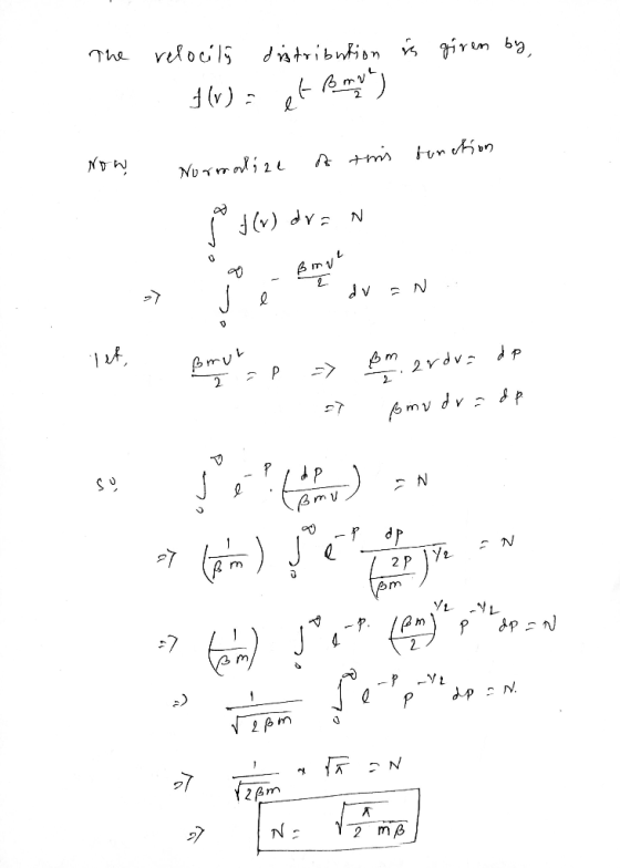 "The is given by, relocilý distribution 1 (v) - rv) function Now Normalize of timis Р3 (w) дva N 14 1*, ßrut рото"", р эр. viv"