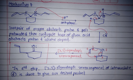 Mechanisms 10: >H+ H anhydrous. Lone pair of oxygen abstracts proton ļ gels protonated then conjugate base of given acid abs