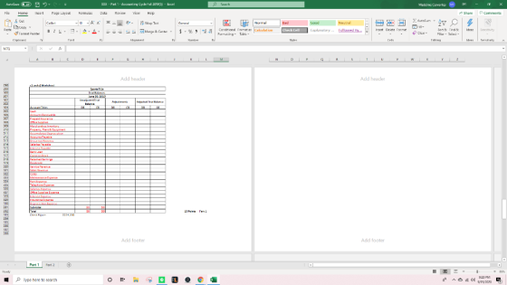 Aber 0 De Search Madeline Cervantes MC xxx - Part 1 - Accounting Cycle Fal 20193 - Excel 1 - ) Data REICH View Нер Fle Home I