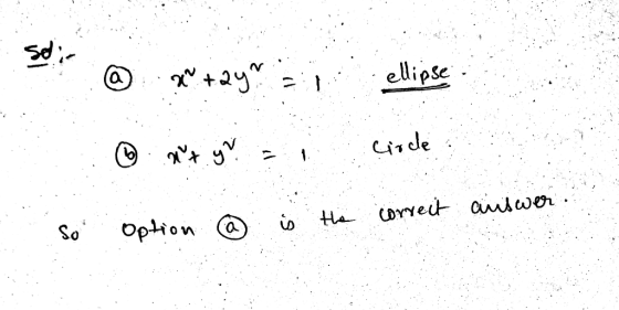 se x+2y ellipse circle . So the correct answer ús Option